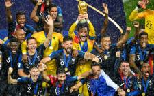 French players celebrate winning the 2018 Fifa World Cup at the Luzhniki Stadium in Moscow on 15 July 2018. Picture: AFP