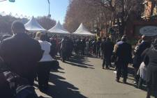 Members of the public are already queueing to enter the Wanderers Cricket Stadium. Picture: Christa Eybers/EWN