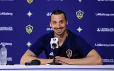 LA Galaxy's Zlatan Ibrahimovic pictured during a press briefing on 1 April 2018. Picture: AFP