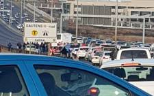 The N1 in Johannesburg is blocked by protesters on 16 July 2018. Picture: via @EWNTraffic/Twitter