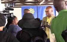 Police Minister Nathi Mthethwa addresses journalists at the Diepsloot police station on Sunday 9 February 2014. Picture: Vumani Mkhize/EWN
