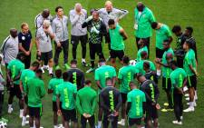 Nigeria's team players gather to pray ahead of a training session of Nigeria's national football team at the Saint Petersburg Stadium on 25 June 2018 on the eve of the Russia 2018 World Cup Group D football match between Nigeria and Argentina. Picture: AFP.