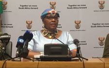 Minister Nosiviwe Mapisa-Nqakula briefing media on her budget vote. Picture: Lindsay Dentlinger/EWN