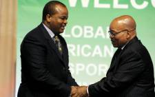 President Jacob Zuma welcomes Swaziland's King Mswati III to the African Diaspora. Picture: GCIS.