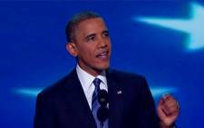 Barak Obama speaks during a rally in Charlotte. Picture: CNN.