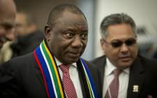 South Africa's Deputy President Cyril Ramaphosa talks to potential investors during discussions at a Brand South Africa briefing at the World Economic Forum in Switerland on 17 January, 2017. Picture: Reinart Toerien/EWN