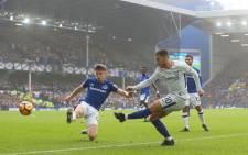 Chelsea's Eden Hazard takes a shot during the team's Premier League clash against Everton at Goodison Park. Picture: @ChelseaFC/Twitter.