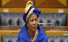 SABC's acting interim board chairperson Khanyisile Kweyama was interviewed for a permanent seat on the board on 1 September 2017. Picture: Youtube