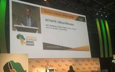 Mineral Resources Minister Mosebenzi Zwane addressed delegates at the Mining Indaba in Cape Town on 8 February 2016. Picture: @DMR_SA via Twitter.