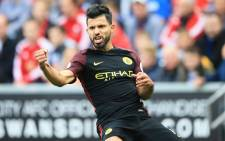 Manchester City's Sergio Aguero celebrates his goal against Swansea City in the English Premier League clash on 24 September 2016. Picture: Official Manchester City Facebook page.