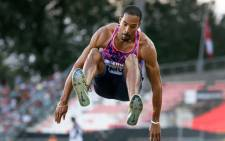 US athlete Christian Taylor competes in the triple jump men event during the Diamond League athletics meeting Athletissima in Lausanne on 6 July 2017. Picture: AFP