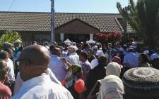 Family and friends gathered outside Essa Moosa's house in Athlone after the retired high court judge passed away. Picture: Eduard de Kock/EWN.