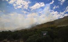 A vegetation fire on the mountain slopes of Scarborough close to Cape Point. Picture: Cindy Archillies/EWN