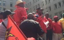 SACP General Secretary Blade Nzimande addresses crowds in the Joburg CBD at Cosatu's march for decent work. Picture: Govan Whittles/EWN.