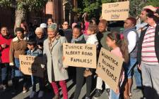 FILE: Residents who are facing eviction from Woodstock due to failure to pay rent outside today. Picture: Monique Mortlock/EWN.
