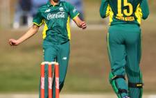 South Africa's Jade de Klerk celebrates a wicket against England in Potchefstroom. Picture: @OfficialCSA/Twitter