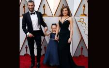 Rachel Shenton (R), with her partner Chris Overton and Maisie Sly (C) who plays a deaf four-year-old girl named Libby in the film 'The Silent Child' attend the 2018 Oscars. Picture: @RachelShenton/Twitter.