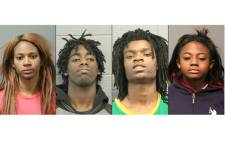 This combination of pictures created on 5 January 2017 shows the mugshots released by the Chicago Police Department of assault suspects (L-R) Tanishia Covington, Jordan Hill, Tesfaye Cooper, and Brittany Covington who are accused of holding captive and assaulting a man with special needs in a racially charged attack broadcast live on Facebook. Picture: AFP.