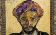 Arab in Black by Irma Stern, which was donated to fund Nelson Mandela's legal defence in the 1950s, found covered in bills and letters in a London flat. Picture: Bonhams Auction House.