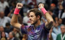 Juan Martin del Potro celebrates his victory over Roger Federer during their 2017 US Open Men's Singles quarterfinal match at the USTA Billie Jean King National Tennis Center in New York on 6 September, 2017. Picture: AFP