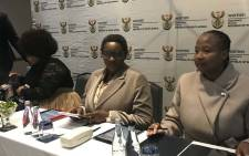 Minister of Women in the Presidency Bathabile Dlamini (centre) at a press briefing in Johannesburg. Picture: Thando Kubheka/EWN.