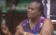 A screengrab of Communications Minister Faith Muthambi answering questions in Parliament.