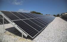 The solar PV farm is made up of 1960 solar panels and will produce almost 1 million kilowatts of electricity each year. Picture: Cindy Archillies/EWN