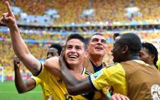 FILE: Colombia's James Rodriguez celebrates a goal with team members. Picture: Facebook.com