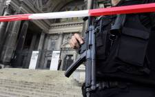 Armed police cordon off the Cathedral in Berlin on 3 June 2018 following reports of a shooting. Picture: AFP.