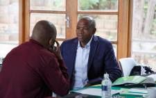 North West Premier Supra Mahumapelo in the meeting venue where ANC met amid calls for Mahumapelo to be removed from office on Wednesday 18 April 2018. Picture: Ihsaan Haffajee/EWN