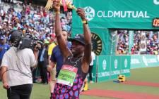 Bongumusa Mthembu wins the 2018 Comrades Marathon. Picture: Comrades Marathon/Twitter