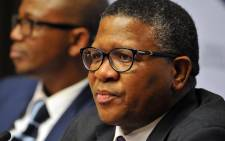 Minister of Police Fikile Mbalula introducing Lieutenant-General Lesetja Mothiba as the new Acting National Commissioner of Police at a media conference held at Imbizo Media Centre in Cape town. Picture: GCIS.