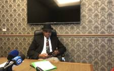 Newly appointed special advisor to Police Minister Bheki Cele, Lennit Max, at a press briefing on his new position in Cape Town on 2 July 2018. Picture: Graig-Lee Smith/EWN.