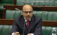 A screengrab of Western Cape High Court Judge Siraj Desai being interviewed in Parliament.