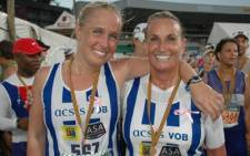 Tara and Shirley Hossack after finishing Comrades 2012. Picture: Supplied.