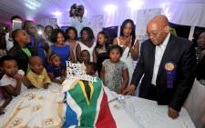 FILE: President Jacob Zuma shares a moment with his wives during his birthday celebrations. Picture: GCIS.