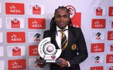 Kaizer Chiefs' Simphiwe Tshabalala with his PSL Goal of the Season Award. Picture: PSL.