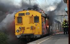 A train is alight at Steenberg Railway Station on 18 June 2018. Picture: Supplied by CoCT fire & rescue services