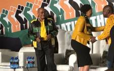 President Jacob Zuma and his wife Thobeka Mandela Zuma greet supporters at his 75th birthday celebration in Soweto. Picture: Clement Manyathela/EWN.