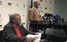 NC secretary general Gwede Mantashe and ANC spokesperson Zizi Kodwa. Picture: Kgothatso Mogale/EWN