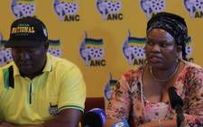 Acting provincial secretary Suzan Dantjie addressing the media about the ANC's decision to place North West Premier Supra Mahumapelo on precautionary leave. Picture: EWN