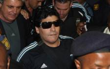 Argentinian national soccer team coach Diego Maradona arrives at the OR Tambo International Airport 18 January 2010. Picture: SAPA