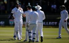 Proteas celebrate during a match against Australia on 13 Match 2018. Picture: @ICC/Twitter.