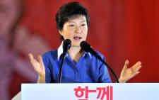 Park Geun-Hye, the daughter of assassinated dictator Park Chung-Hee, speaks after she was elected as a presidential candidate during a national convention of the New Frontier Party for a presidential primary in Goyang, north of Seoul, on August 20, 2012. Picture: AFP.