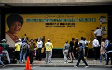 The tribute wall for Mama Winnie outside Luthuli House. Picture: Kayleen Morgan/EWN