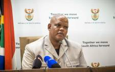 Acting National Police Commissioner Lieutenant-General Khomotso Pahlane briefs the media on the OR Tambo heist. Picture: Thomas Holder/EWN