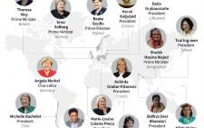 Graphic showing current female heads of state or government.