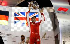 Ferrari's Sebastian Vettel celebrates victory in the 2018 Bahrain Grand Prix. Picture: @F1/Twitter