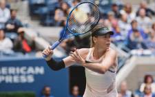 Maria Sharapova returns a shot at the 2017 US Open. Picture: @usopen/Twitter