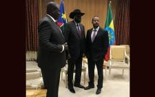 South Sudan President Salva Kiir and his arch-foe Riek Machar in Addis Ababa for a working visit on 20 June 2018 ahead of talks. Picture: AFP